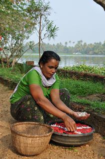 Kerala woman with food