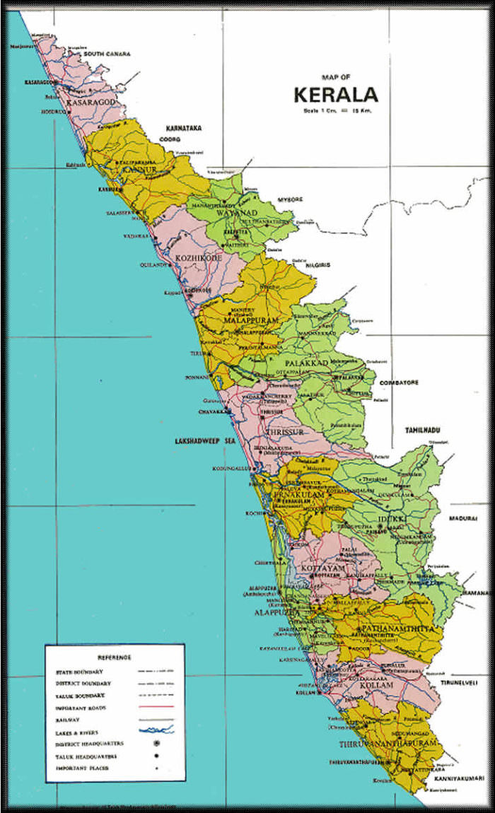 map of India, kerala