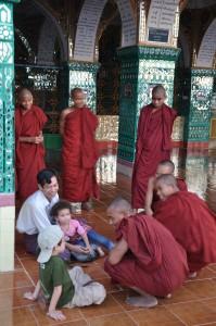 Joking with the monks, Mandalay, Burma
