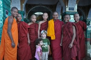 With the monks on top of Mandalay hill, Burma