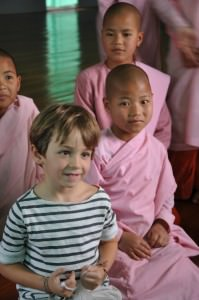 With the young Burmese nuns by Inle lake