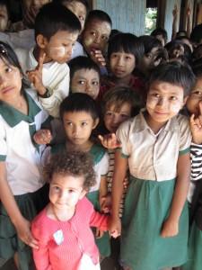 Burmese children at school, Ngapali