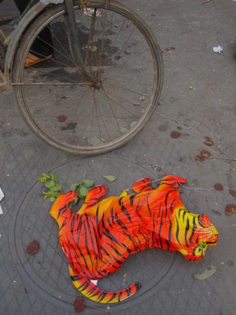 Tiger balloon in street, Vietnam