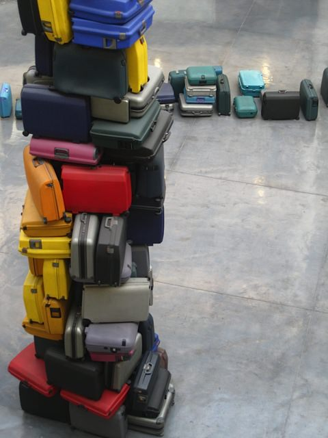 Suitcase installation at the airport. DIY Inspiration.