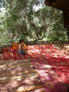 girl in trees in Marrakech