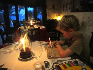 boy in restaurant, Tulum Mexico