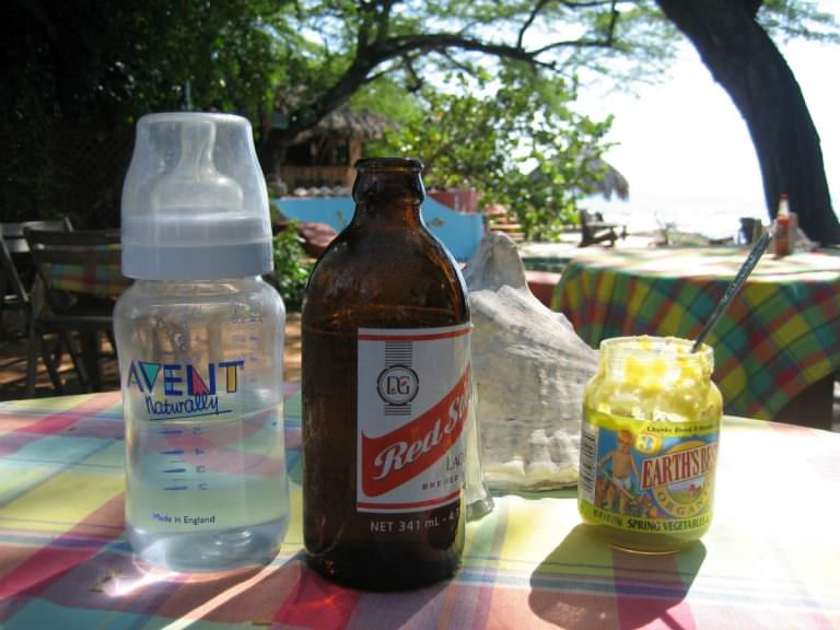 Red Stripe and Baby Formula at Jake's, Jamaica