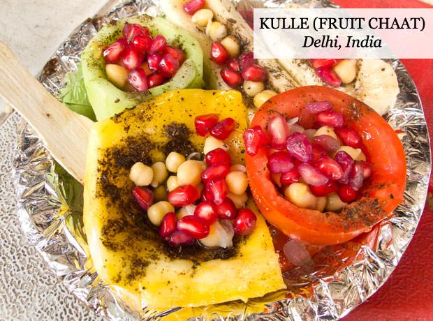 Kulle, fruit chaat, Delhi