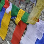 buddhist flags flying in bhutan