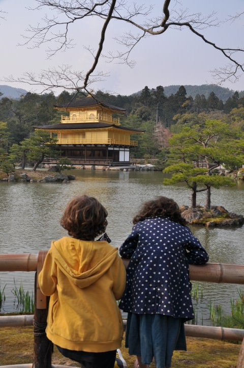 children at golden temple in Japan