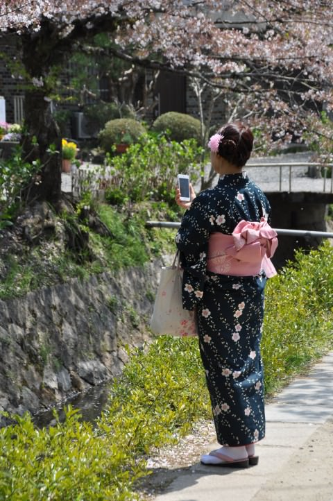 woman in traditional kimono in Kyoto Japan