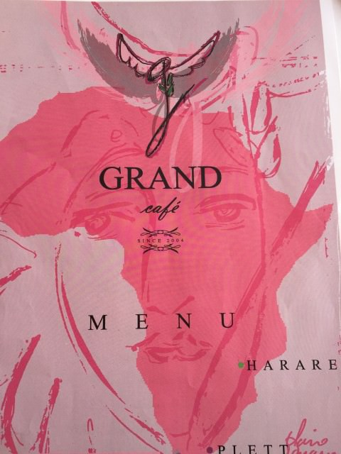 the colourful menu at The Grand