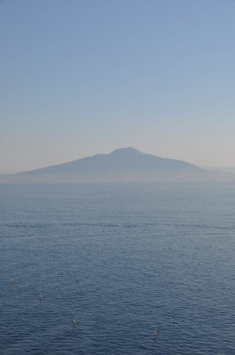 view over the Vesuvius from Sorrento Italy