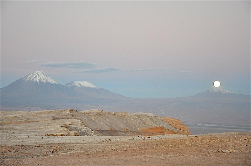 Atacama desert Chile full moon