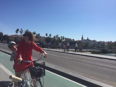 On Puente Triana in Sevilla
