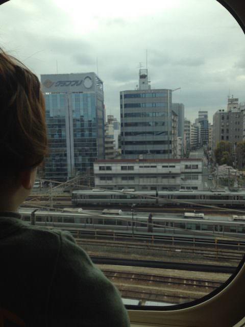 On the bullet train from Osaka to Naoshima, Japan