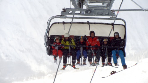 going up the 3 valleys with ski lift