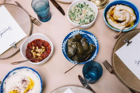 Syrian feast of mezze on the table by Imad's Syrian kitchen