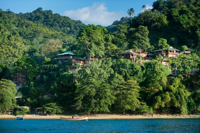 Castara retreat pictured from the sea