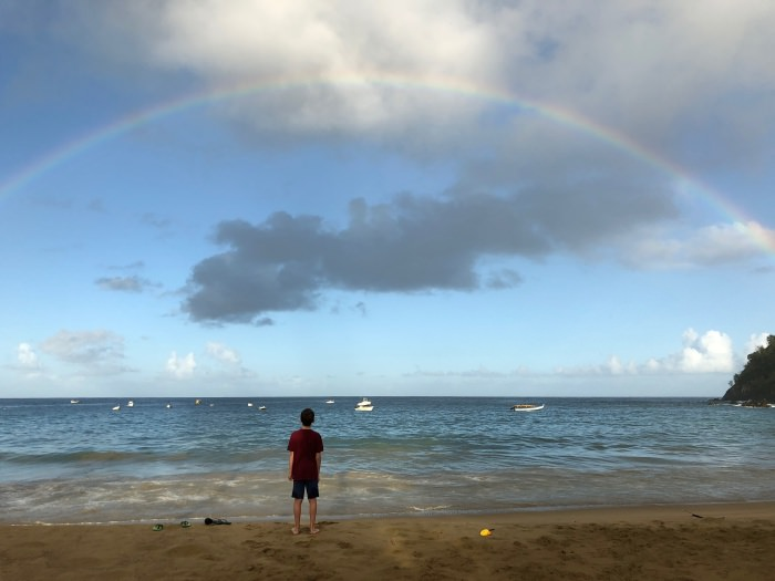 enormous rainbow on Castara Beach, Tobago