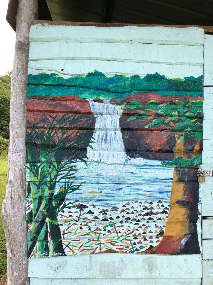 naive painting of waterfall in Tobago