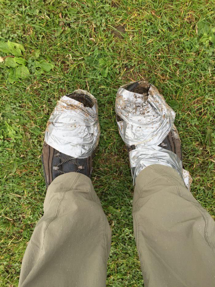 bandaged hiking boots