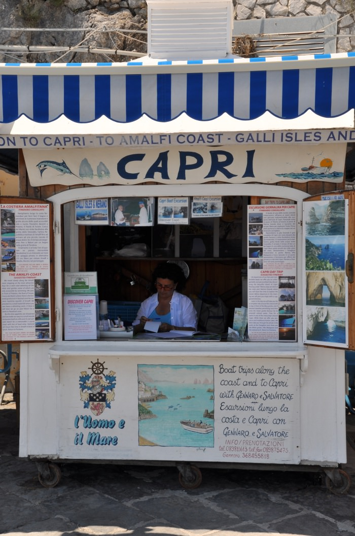 stand to buy tickets for Capri in Positano harbour