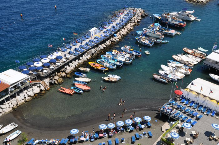 colourful view of the harbour in Sorrento