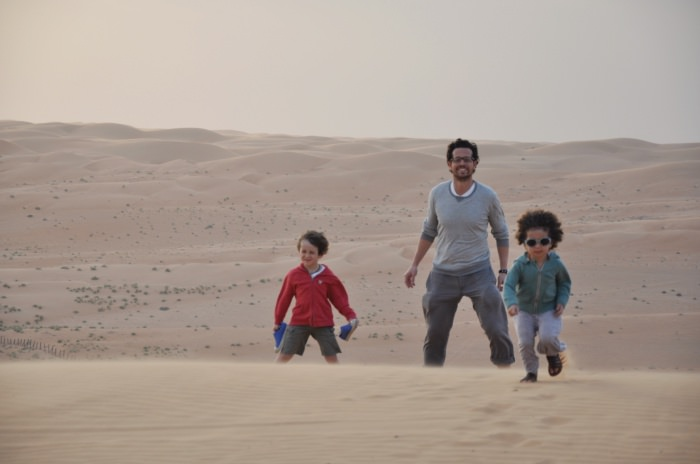 walking against the wind and the sand in Oman