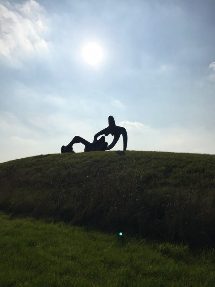 henry moore majestic sculpture in the countryside