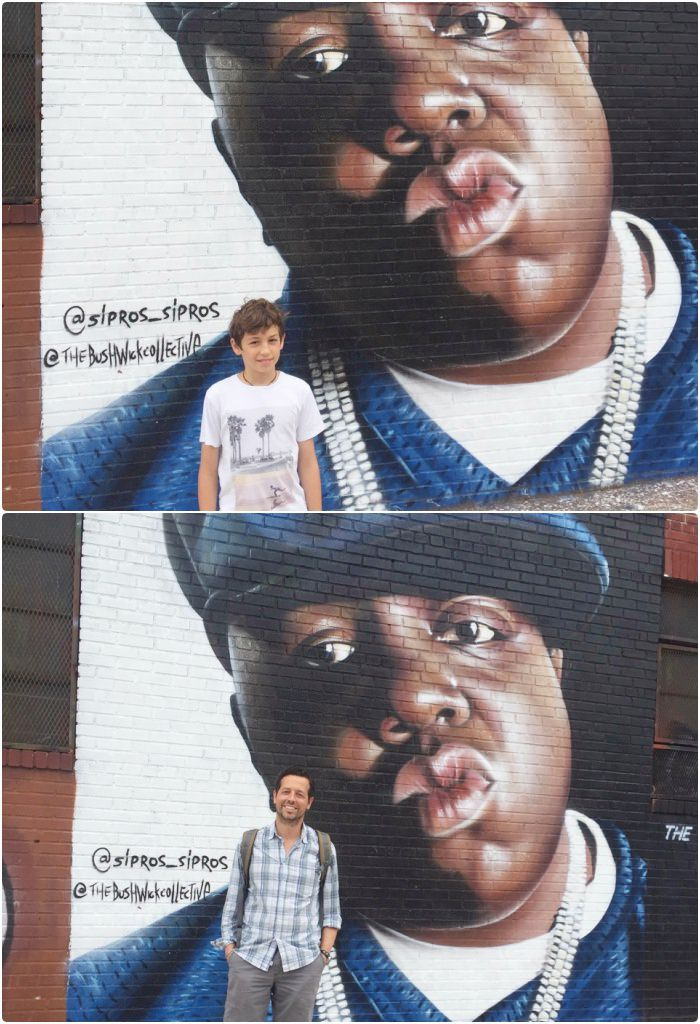posing in front of Biggie graffiti tour Brooklyn