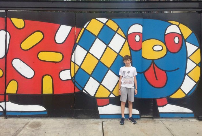 boy and graffiti tour in Brooklyn NYC