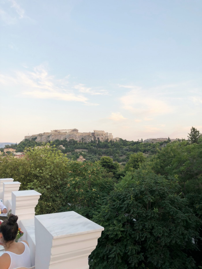 view of the acropolis from Kuzina rooftop restaurant
