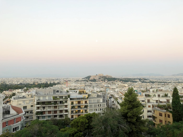 view of athens from hotel st george