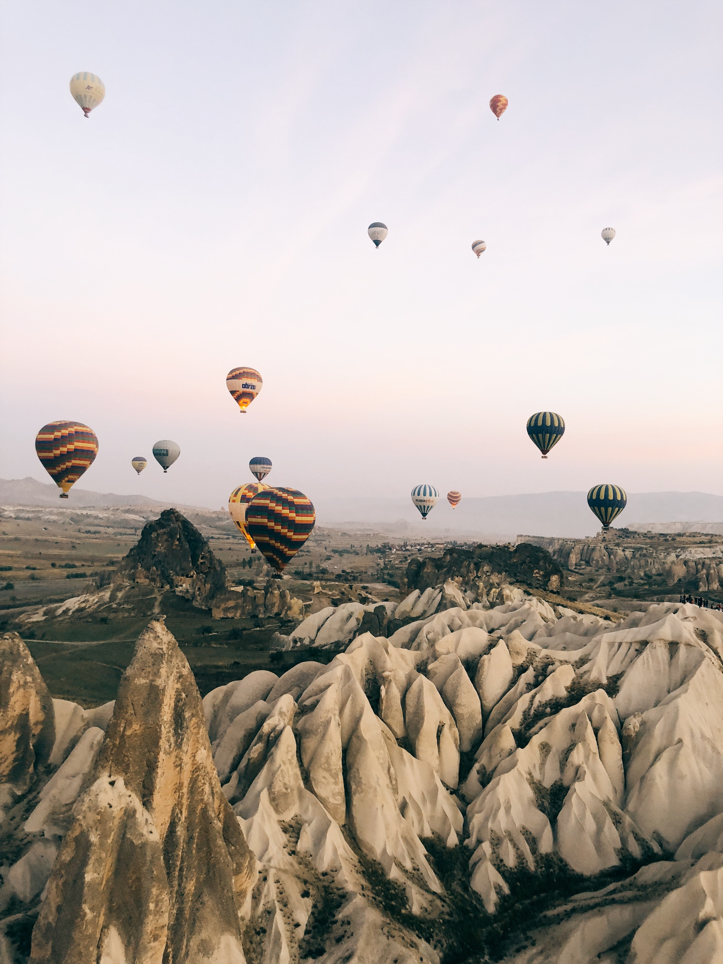 magical view of Capadoccia with hot air balloons