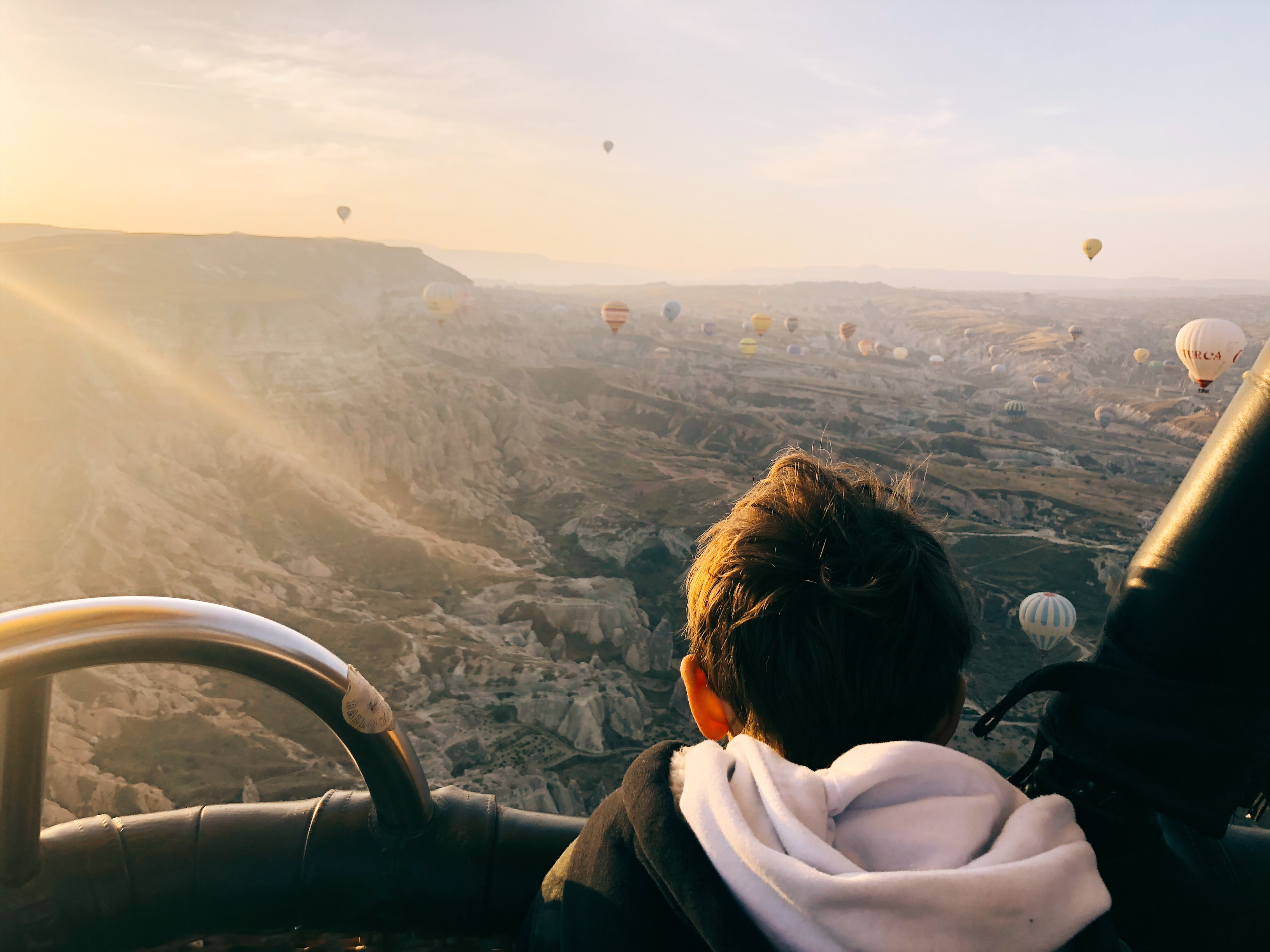 hot air ballon ride at sunrise