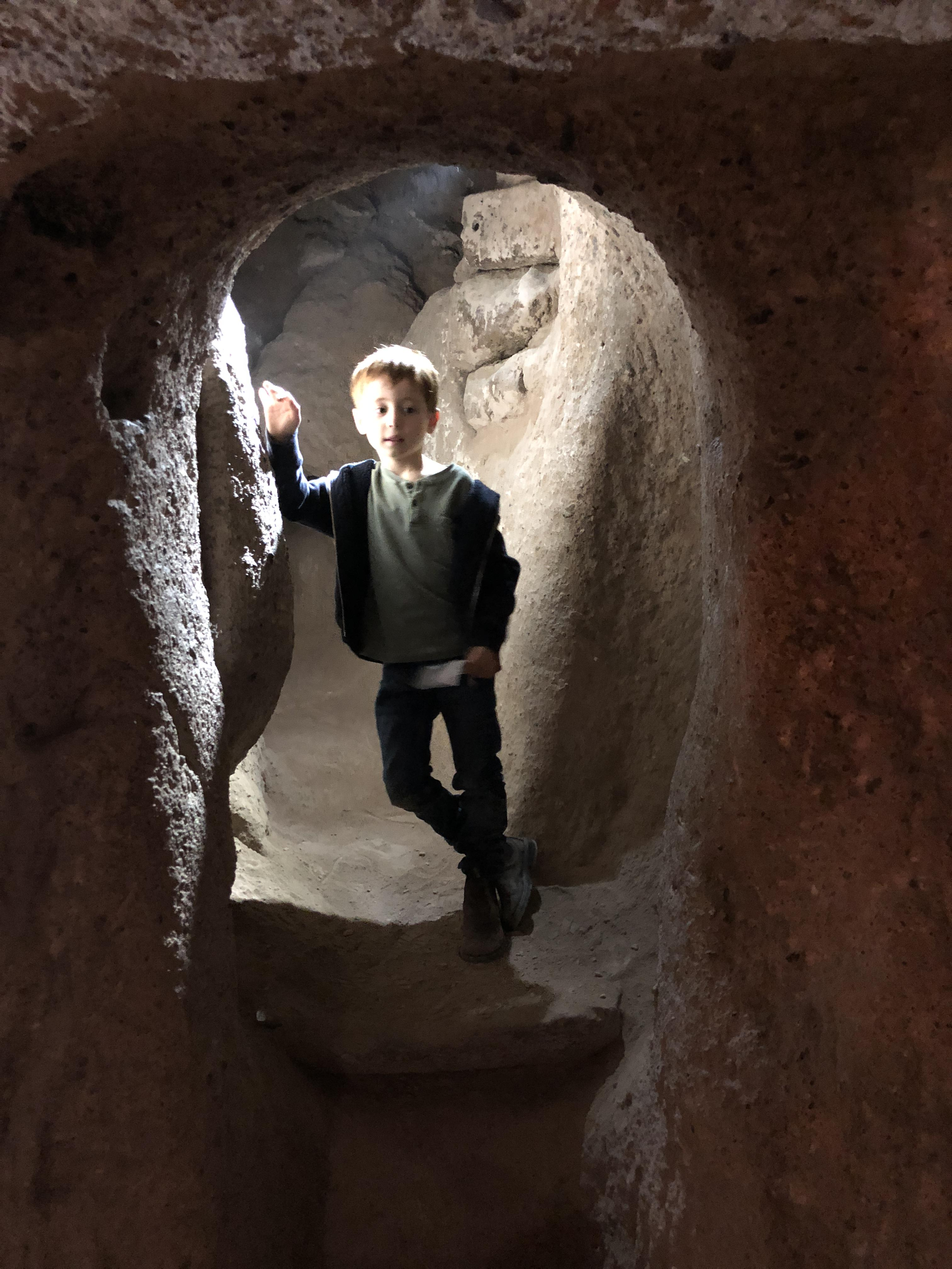 inside an underground city in Capadoccia