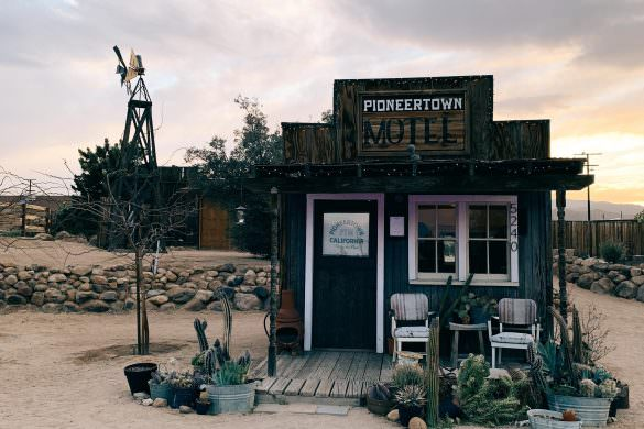 cowboy, motel, desert, sunset