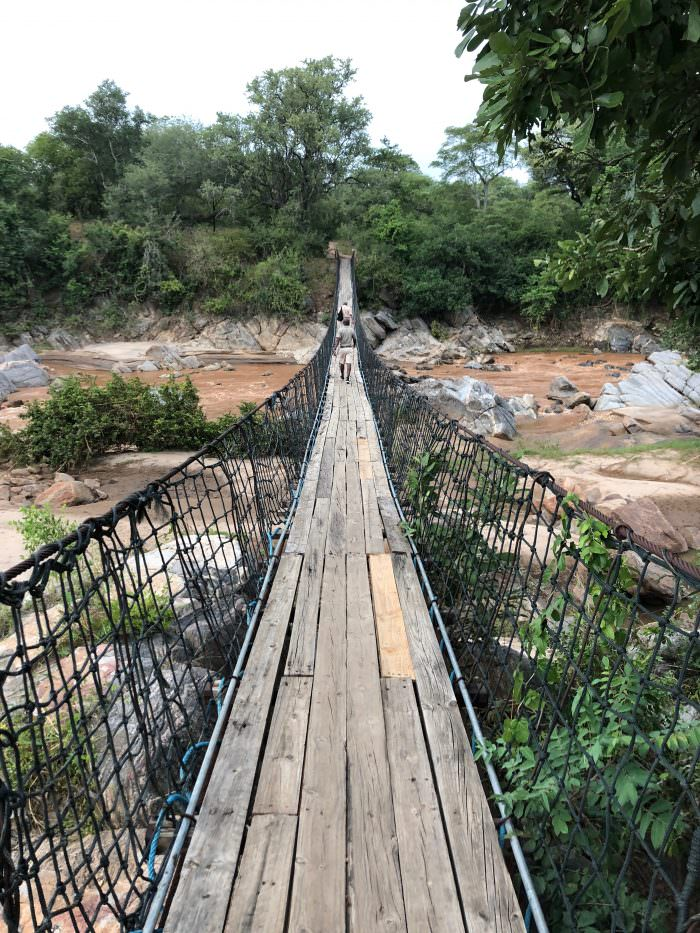 bridge, water, rocks, Majete Park, Africa