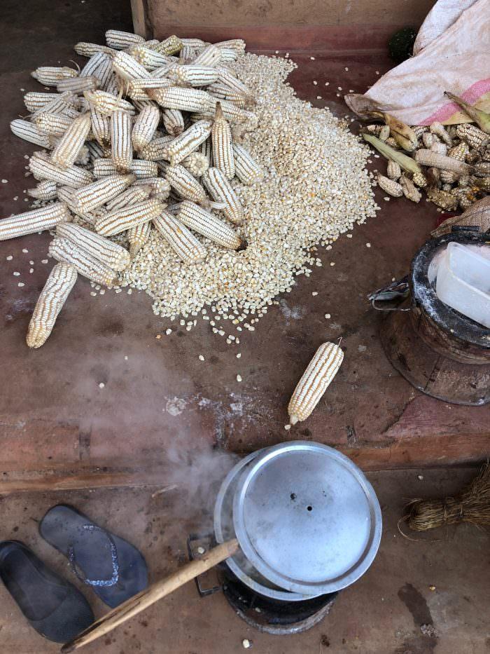 Maize, cooking, Zomba Plateau, Malawi, Africa