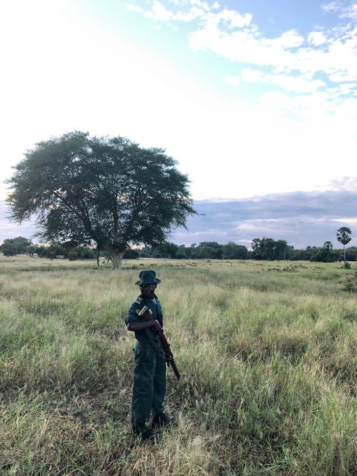 man with gun, Liwonde park, Malawi, Africa