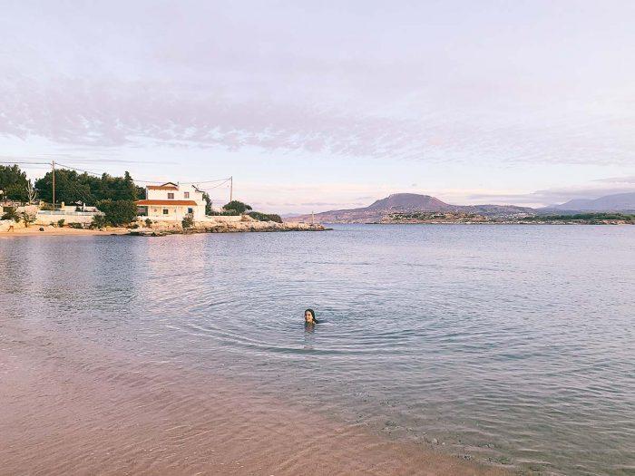 Beach, Girl, Crete, Ocean, Swimming